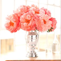 Lovely coral flowers for the centre of tray on coffee table. #toniclivingdreamroom #homedecor