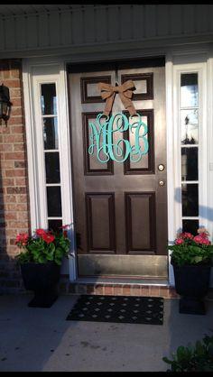 Wooden monogram front door