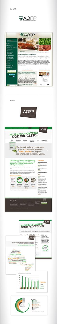 Alliance of Ontario Food Processors, Before & After. #blonde #design #brand #marketing #advertising #rebrand #update #new #web #digital #online #website #chart #graph #illustration