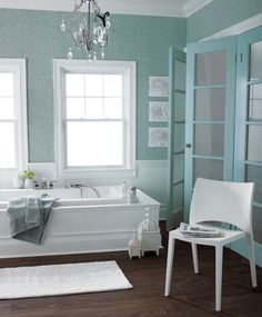 inspiration for my 2nd floor bathroom. What is with me and the color teal?