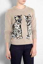 animal design sweater-paul joe sister animal leopard cashmere mix jumper