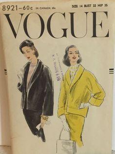 1956 VINTAGE VOGUE SHORT BOX COAT PATTERN 8921 UNCUT FACTORY FOLDED