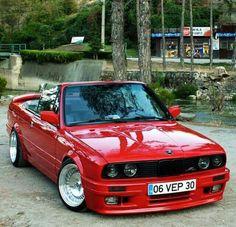 BMW E30 3 series cabrio red