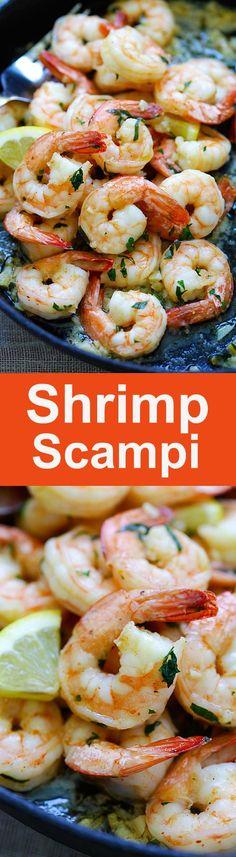 Shrimp Scampi - the BEST shrimp scampi recipe you'll find online. Crazy delicious garlic butter shrimp on skillet, takes 15 mins, so easy. from /rasamalaysia/ Best Shrimp Scampi Recipe, Best Shrimp Recipes, Fish Recipes, Seafood Recipes, Cooking Recipes, Shrimp Dishes, Fish Dishes, Easy Delicious Recipes, Healthy Recipes