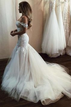 Off the Shoulder Mermaid Tulle Wedding Dresses Lace Appliques Bridal Gown uk on . Off the Shoulder Mermaid Tulle Wedding Dresses Lace Appliques Bridal Gown uk on sale – PromDress. Irish Wedding Dresses, Wedding Dress Trends, Bridal Dresses, Gown Wedding, Beaded Dresses, Backless Wedding, Modest Wedding, Wedding Ideas, Weeding Dresses