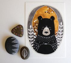 Tragen Illustration - Kunst Malerei - archivalische Druck - 5 x 7 Rafi the Honey Bear auf Etsy, 9,09 €