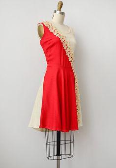 vintage 1950s colorblock floral applique dress. love it!