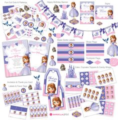 Sofia The First Birthday, Sofia The First invitation, Sofia The First Thank you Cards,  Disney Princess, Sofia The First Cupcake Topper (S3) Yes.
