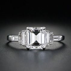 Lang Antiques Emerald Cut Art Deco Ring – Love the Milgrain! LOVE, LOVE, LOVE THIS!!