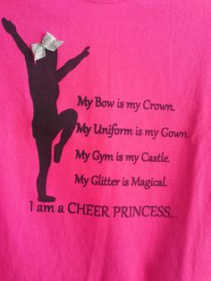 Hot Pink Cheer Princess Tshirt Youth by ButtonUpBows on Etsy, $18.00