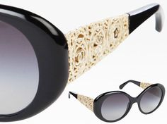Chanel Bijou eyewear collection with intricate metal work and double C l #sunglasses