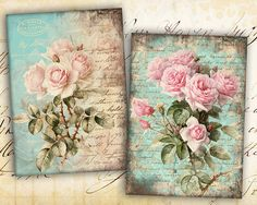 Shabby Roses Pink Greeting Cards Digital Collage by FrezeArt
