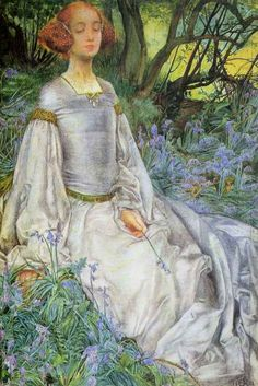 In Spring time, the only pretty ring time - From As You Like It Eleanor Fortescue-Brickdale Pencil and watercolor heighten 1901