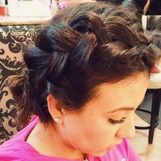 A side Dutch braid that is twisted into a low chignon. The key to making any braid look thicker and bigger is to stretch the hair out. Once the braid is complete, pull slowly on the outer edges of the braid. This will help to make it look full!  #hair #br