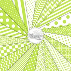 CHARTREUSE - Yellow green Digital Paper - Printable Scrapbook Backgrounds in bright lime green & white - Chevron, Stripe, Polka Dot (DP299A). $4.95, via Etsy.