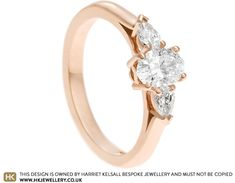 Sophie wanted to surprise Natalie with this delicate engagement ring made from 9ct rose gold and set with an oval cut 0.52ct diamond that lies across the band. To balance the shape of the central stone we set two pear cut diamonds onto each shoulder, travelling down the band. Split details under the head of the ring add an interesting touch and allow the diamonds to take pride of place. Delicate Engagement Ring, Trilogy Engagement Ring, Engagement Rings, Jewellery Designs, Pear, Travelling, Pride, Diamonds, Rose Gold