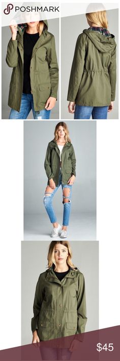 Olive Green Utility Jacket Every wardrobe needs a utility jacket. This jacket features a lined hood, Pockets and drawstring. Wear it with boots in the rain or in the shine - It's a staple for any girls closet.  100%cotton Jackets & Coats