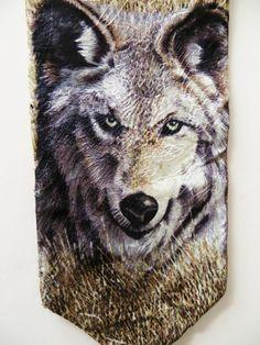 Silk Necktie, Mens Collectible, Gray Wolf, by Endangered Species, Wild Animal, Narure theme, mint unused silk by TomCatBazaar on Etsy