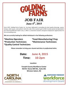 Golding Farms Job Fair! June 4th 10:00-2:00 at the Forsyth County Workforce Center. ‪#‎ncworks‬ ‪#‎northwestpiedmontworks‬