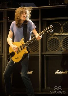Malcolm Young AC/DC performing live as the headline act at Donington Festival 1991
