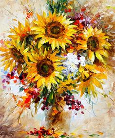 0046  Sunflowers Of Happiness New Print by Leonid Afremov