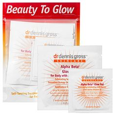 Wipes are a quick and easy way to apply self-tanner. Plus they are great for travel or tanning emergencies! Dr. Dennis Gross Alpha Beta Glow Pads