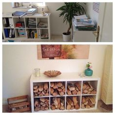 furniture remodel – Ikea shelf for wood storage - Home Page Ikea Expedit, Ikea Shelves, Expedit Regal, Ikea Ikea, Log Store, Rocket Stoves, Wood Storage, Ikea Furniture, Bookcase