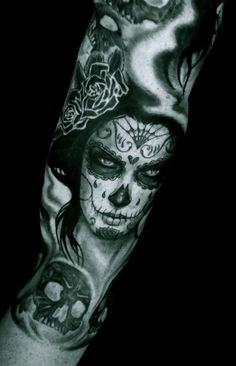 Spooky santa muerte girl tattoo