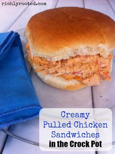 These pulled chicken sandwiches look so tasty! You can make the chicken mixture in the crock pot. This would be good to feed a crowd!