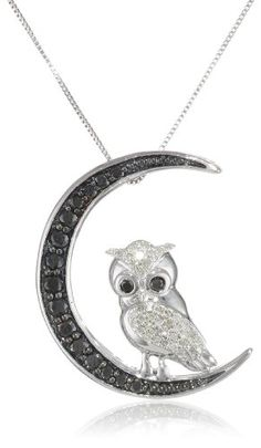 10k White Gold Black and White Diamond Owl Pendant Necklace (1/2 cttw, I-J Color, I2-I3 Clarity), 18″   Black Diamond Jewelry   White Gold