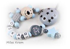 Schnullerketten - Schnullerkette mit Namen - ein Designerstück von MilasKram-Schnullerketten bei DaWanda