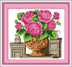 Benway Counted Cross Stitch Pink Rose Flowers In Vase 14 count 50cm X 46cm Benway http://www.amazon.com/dp/B00J7T7CI8/ref=cm_sw_r_pi_dp_flbMvb1S6T90V