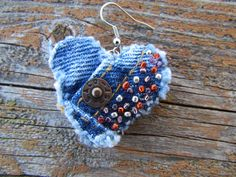 @: Earring Heart-Shaped Recycled Denim by daringmisslassiter