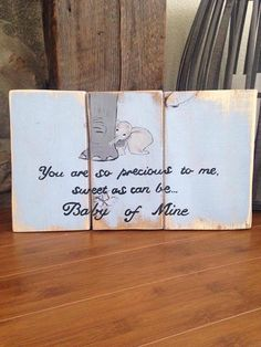 Dumbo Baby Mine Pallet Sign by TeedumTeedee on Etsy