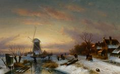 Charles Leickert - Winterlandschap in de avondschemering