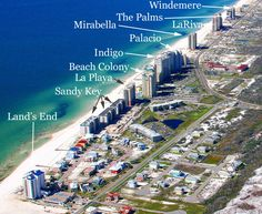 Aerial image of Perdido Key FL with condos labeled for easy searches