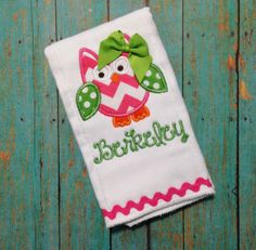Pink and Green Owl Burp Cloth Chevron by sunfirecreative on Etsy, $13.00