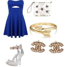 Blue and Gold by penguins-lily on Polyvore featuring polyvore fashion style Miss Selfridge Posh Girl Marni Chanel Bling Jewelry