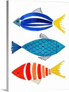 Amanti Art Summer Fish Trio 19 x 25 gerahmter Kunstdruck - drawing Art Lessons, Art Prints, Framed Art, Art Painting, Fish Art, Art Drawings, Fish Illustration, Drawings, Framed Art Prints