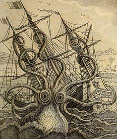 Octopus Art Print, Kraken Sea Monster, Colossal Octopus Print, Art Print, Natural History Poster, Natural History Print, Octopus, 146