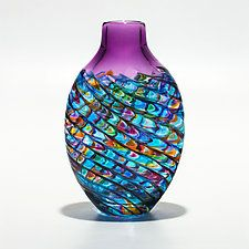 """Optic Rib Flat Tall in Blue Multi with Violet by Michael Trimpol and Monique LaJeunesse (Art Glass Vessel) (12"""" x 6"""")"""