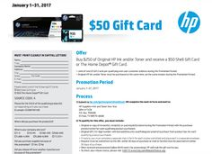 Buy $250 of Original HP Ink and/or Toner and receive a $50 Shell Gift Card or The Home Depot Gift Card #rebate