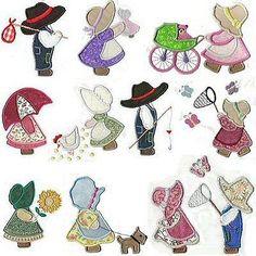 150  APPLIQUE SUNBONNET SUE AND SAM  EMBROIDERY DESIGNS | Crafts, Needlecrafts & Yarn, Embroidery & Cross Stitch | eBay!