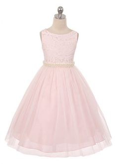 Pink Lace Bodice Flower Girl Dress with Pearl