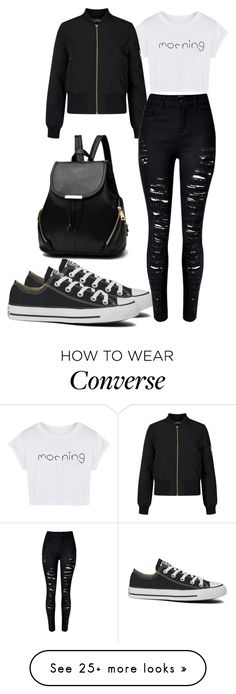 """I am not goth I just like black"" by jmccauley-i on Polyvore featuring WithChic, Miss Selfridge and Converse"