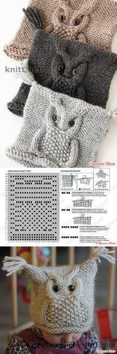 Crochet Patterns Yarn The Owl pattern. Knitting with needles // Людмила ПÐ . Knitting Charts, Baby Knitting Patterns, Knitting Stitches, Crochet Patterns, Free Knitting, Knitting Needles, Knitted Owl, Knitted Hats, Knitting Projects