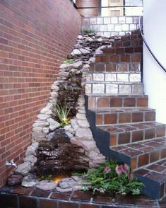 waterfall by the stairs - indoor fish pond idea, but needs more plants. orcad if summer or indoor. Outdoor Spaces, Outdoor Living, Indoor Waterfall, Mini Waterfall, Indoor Pond, Indoor Water Features, Garden Design, House Design, Les Cascades
