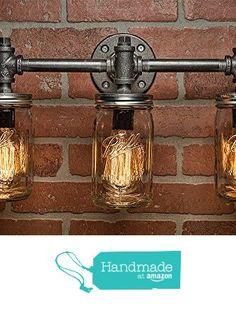 3 Mason Jar Light - Pipe Light - Vanity Light - Edison Light - Rustic Light - Industrial Light - Wall Light - Wall Sconce - Steampunk Light from TMG-DZN http://www.amazon.com/dp/B01AAYLWSE/ref=hnd_sw_r_pi_dp_Ga2Qwb0TTBR8S #handmadeatamazon