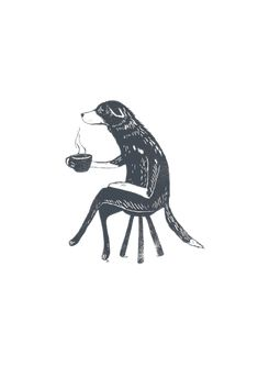 Dog with a cup of tea illustration. Linocut I think? Art Et Illustration, Wow Art, Art Graphique, Grafik Design, Art Plastique, Cute Art, Art Inspo, Printmaking, Art Drawings