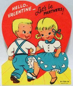 J1465 60s Square Dancing Kids Vintage Diecut Valentine Card | eBay